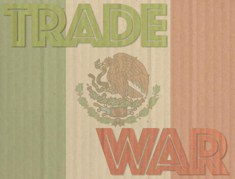 Trade war concept on Mexico flag background. Trade war concept on cardboard background and Mexico flag vector illustration