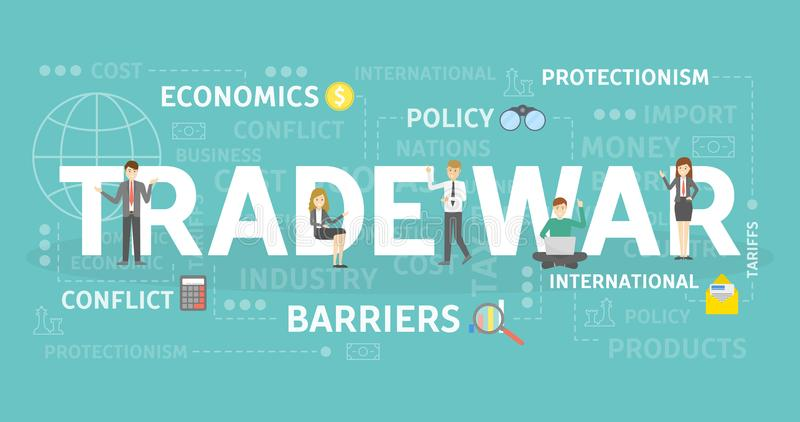 Trade war concept. Trade war concept illustration with econoics and politics vector illustration