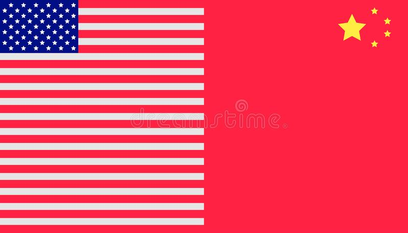 Trade war concept. united states and china flag background. vector illustration eps10 royalty free illustration