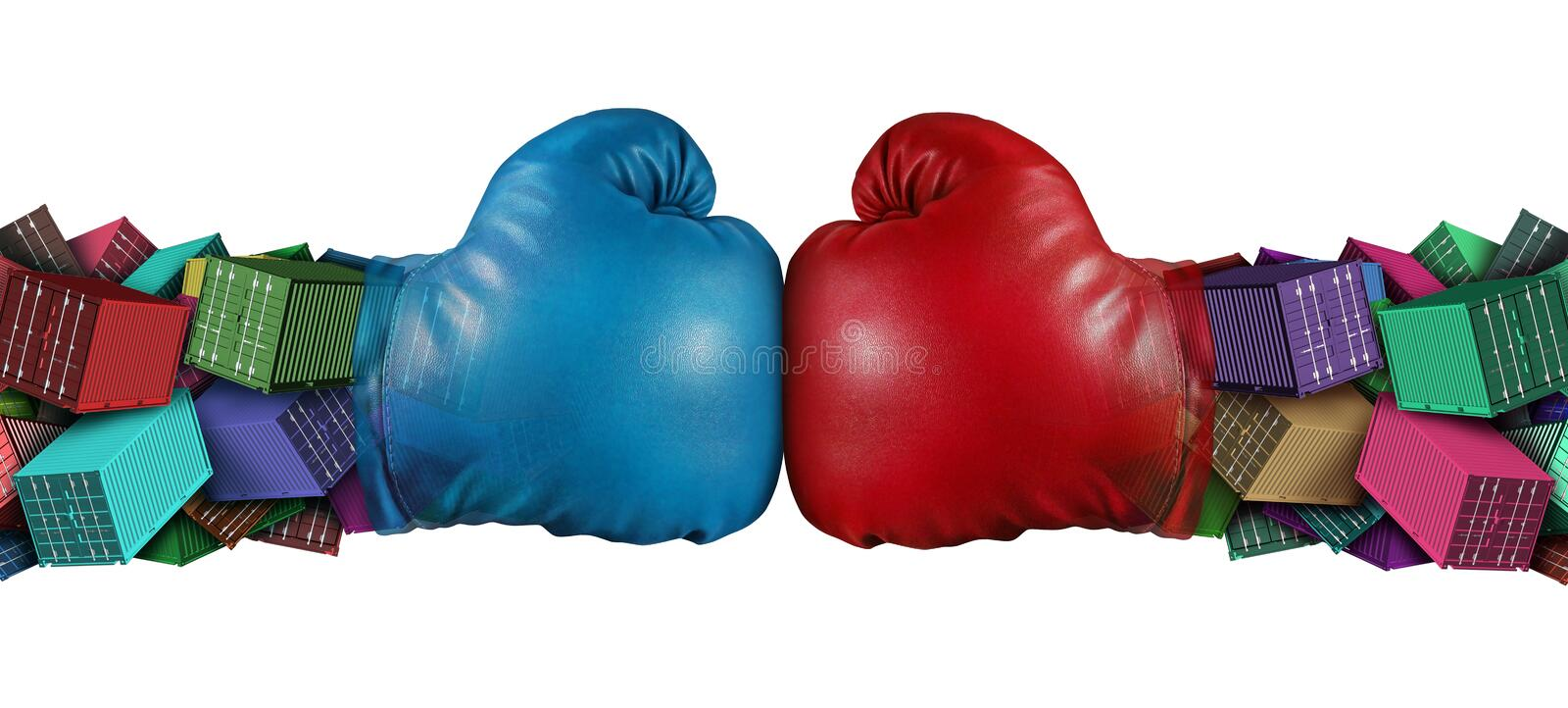 Trade War Idea. Trade war dispute economic fight business concept as national trade tariff disagreement and export or import duties argument fighting with 3D vector illustration
