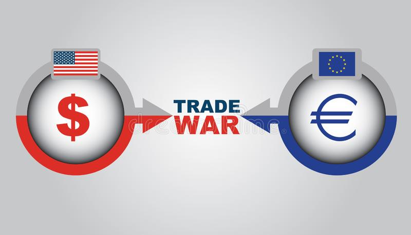 Trade war - economic conflict betwen US and Europa royalty free stock photography