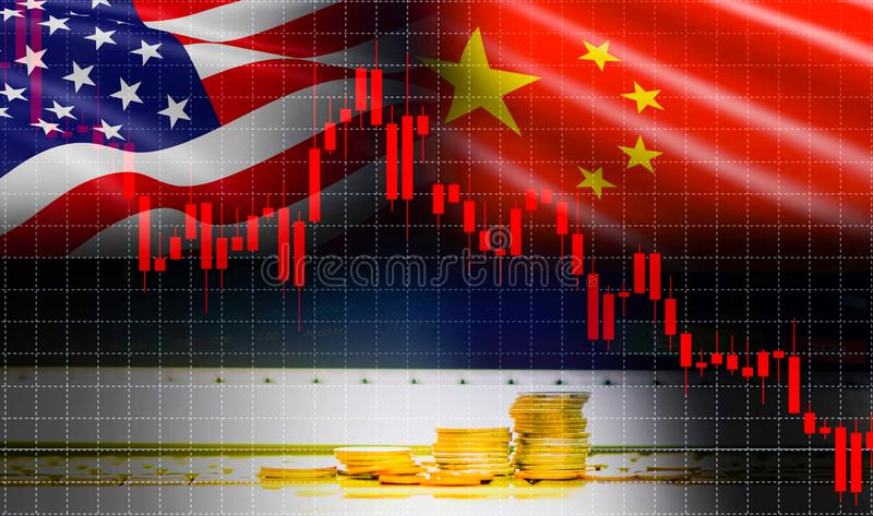 Trade war economy USA America and China flag candlestick graph Stock market exchange analysis. / indicator Trading graph chart business finance money investment vector illustration