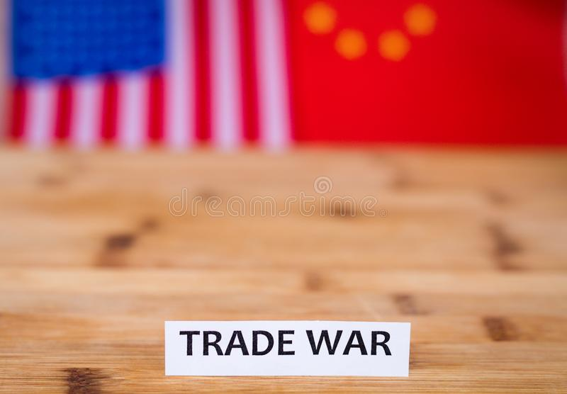 Trade War shipping business concept with USA and China flag in background. Tariffs, tension, trade relations royalty free stock images