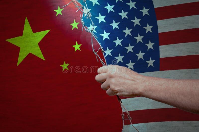 Trade war between USA and China concept royalty free stock photography