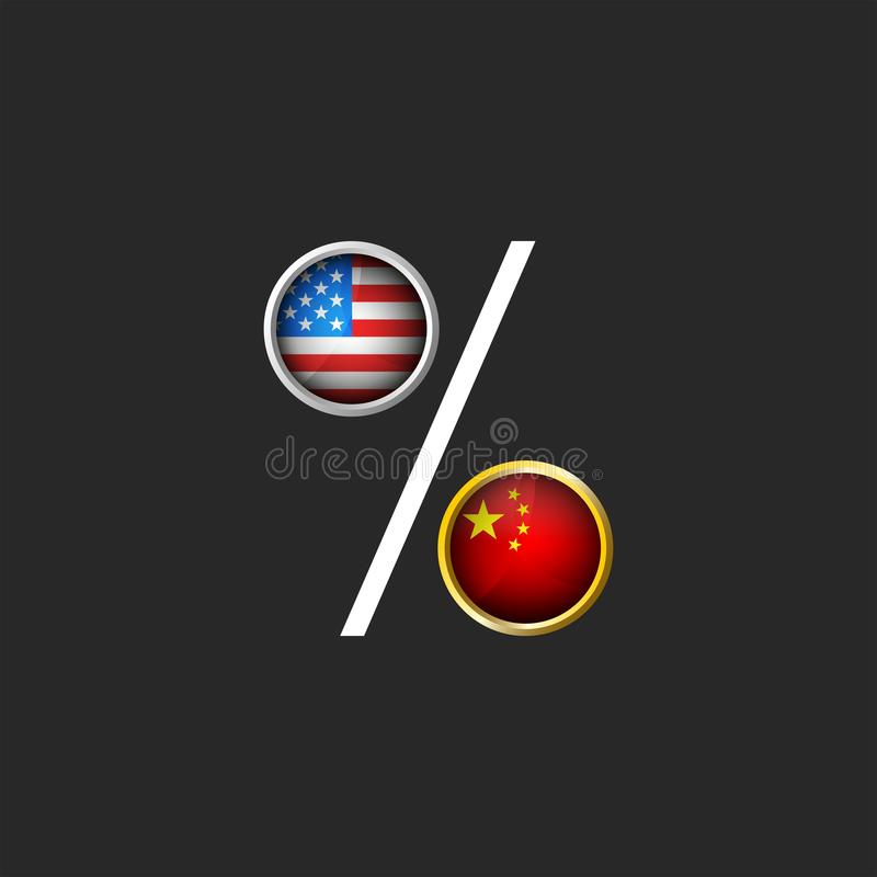 Trade war the USA and China political and economic illustration for a poster, American and Chinese flags as a percentage symbol stock illustration
