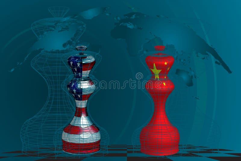 Trade war between USA and China royalty free illustration