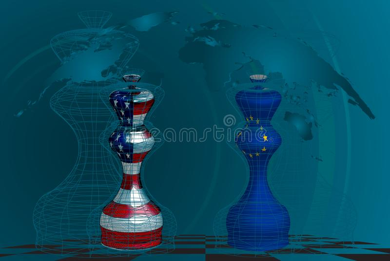 Trade war between USA and EU. Conceptual collage. chess queens with american and european union flags texture on a chessboard vector illustration