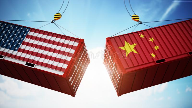 Trade wars concept with American and Chinese flag textured cargo containers clashing. 3D illustration stock illustration
