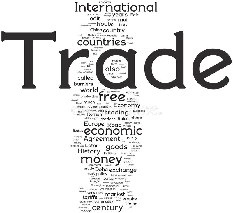 Trade word cloud royalty free illustration