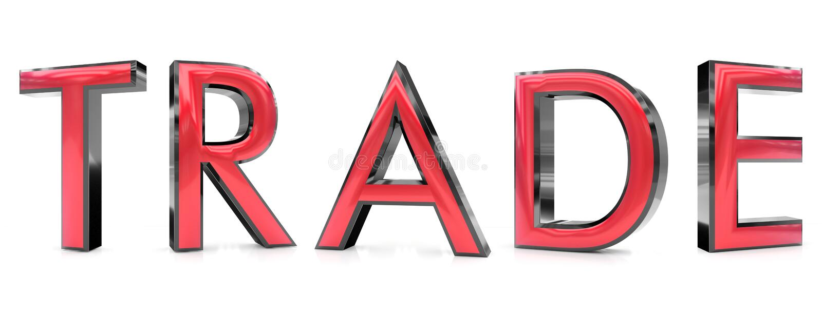 Trade word. The trade word 3d rendered red and gray metallic color , isolated on white background royalty free illustration