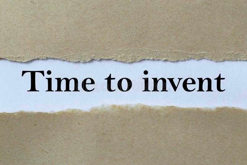 Time to invent heading. Behind torn paper royalty free stock images