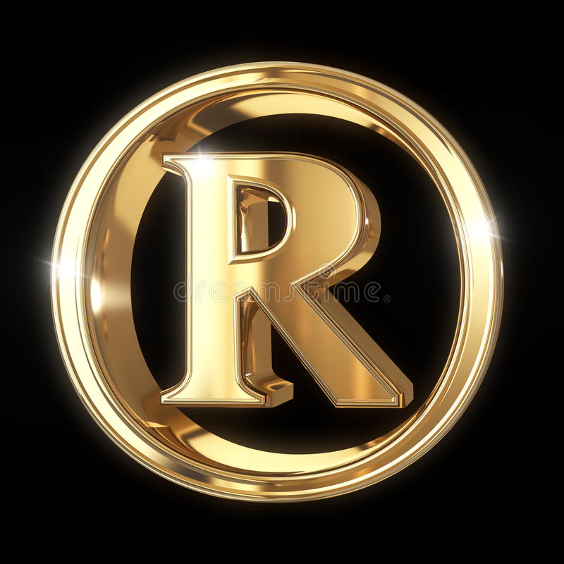 Trademark symbol with clipping path. Golden 3D Trademark symbol isolated on black with clipping path - isolated on black background stock illustration