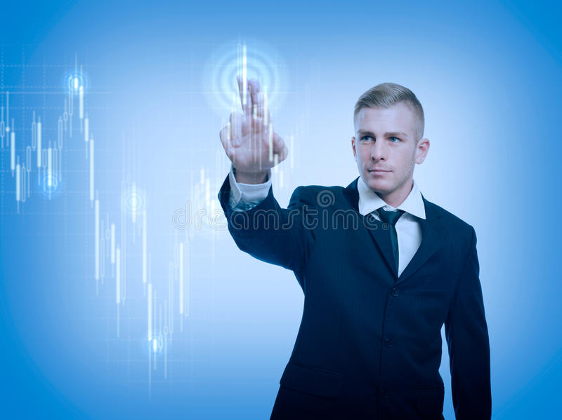 The trader. The trader, colorful currency trading concept with graph and businessman stock images
