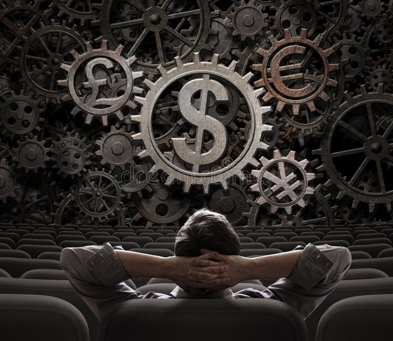 Trader or investor looking on currencies gears 3d illustration. Trader or investor looking on main currencies working gears 3d illustration stock photo