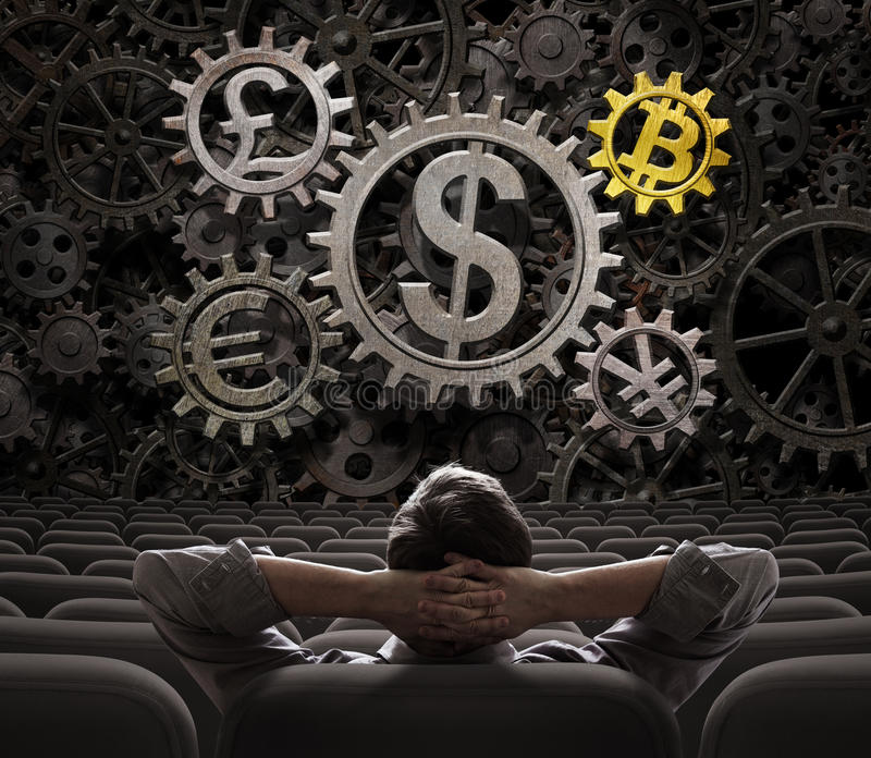 Trader or investor looking on currencies gears including bitcoin 3d illustration. Trader or investor looking on main currencies working gears including bitcoin royalty free stock photo