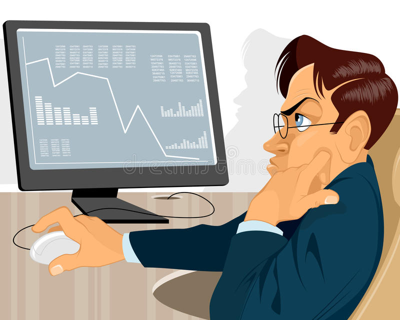 Trader with monitor royalty free illustration