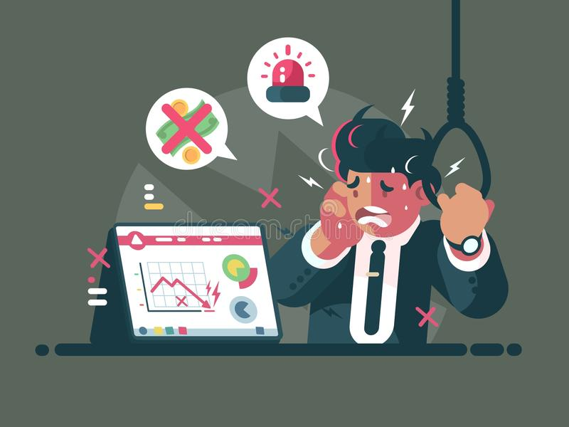 Trader in panic and anxiety stock illustration