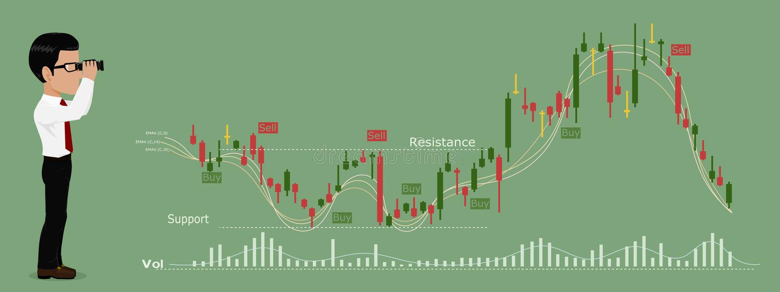 Trader is watching stock chart stock illustration