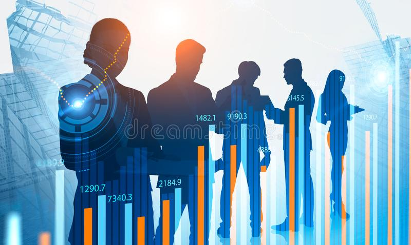 Traders in city, HUD and graphs stock illustration