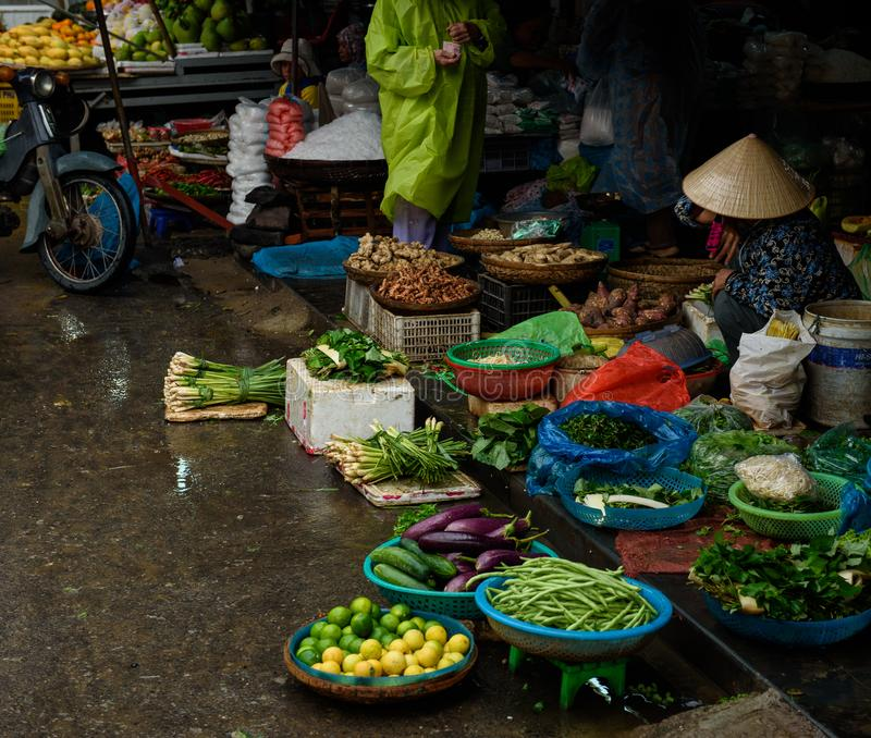 Traders at the local food market royalty free stock image