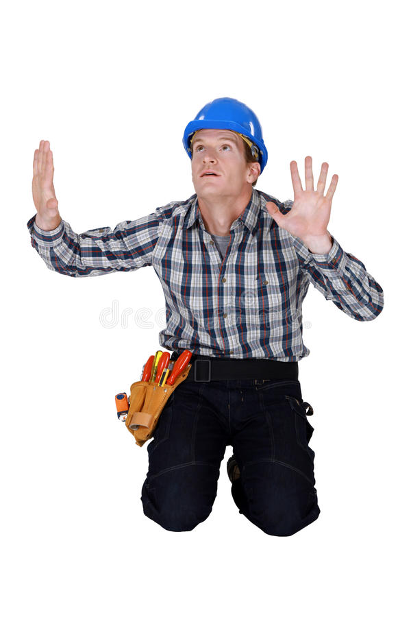 Download Tradesman Confined By Glass Wall Royalty Free Stock Photography - Image: 33675597