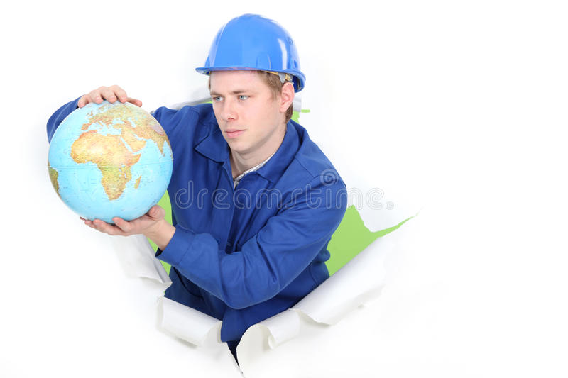 Download Tradesman holding a globe stock image. Image of breakthrough - 28902753