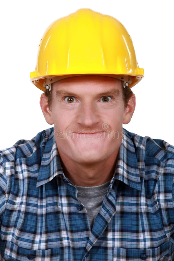 Download Tradesman making a face stock image. Image of goofing - 31991499