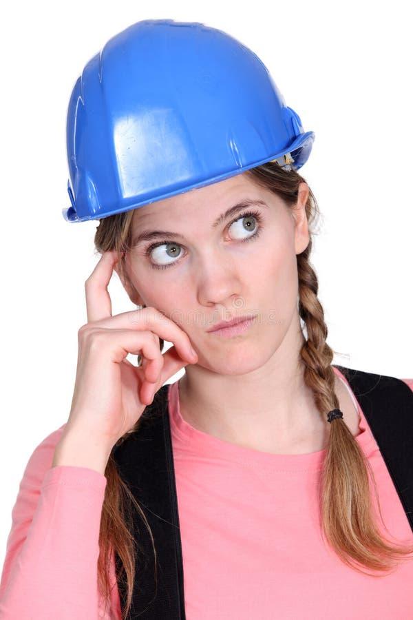 Tradeswoman songeur photos stock
