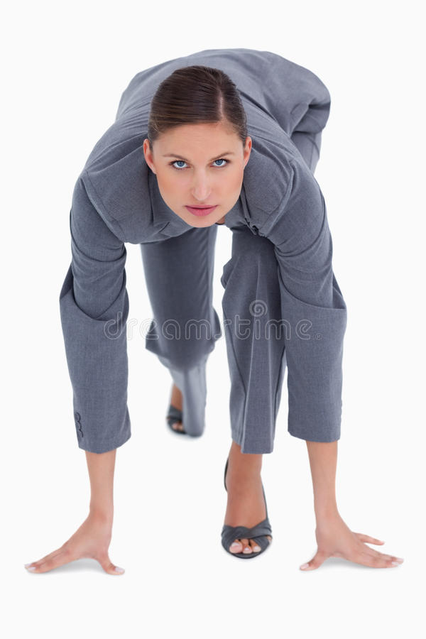 Download Tradeswoman In Sprinting Position Stock Photography - Image: 23015122