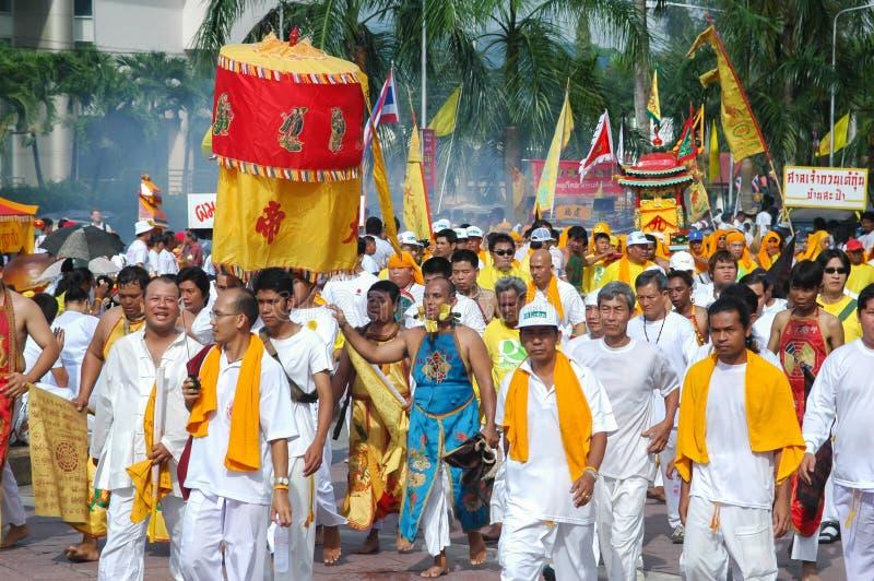 Tradición provincial del festival vegetariano de Phuket imágenes de archivo libres de regalías
