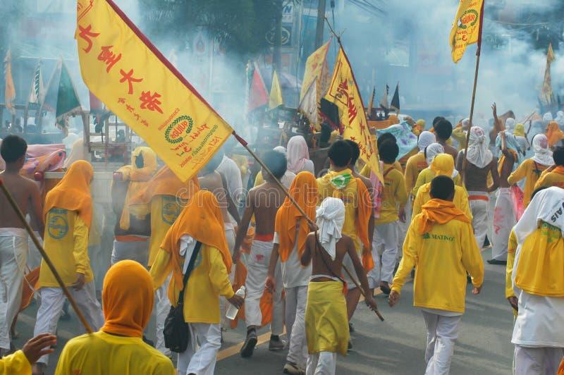 Tradición provincial del festival vegetariano de Phuket imagenes de archivo