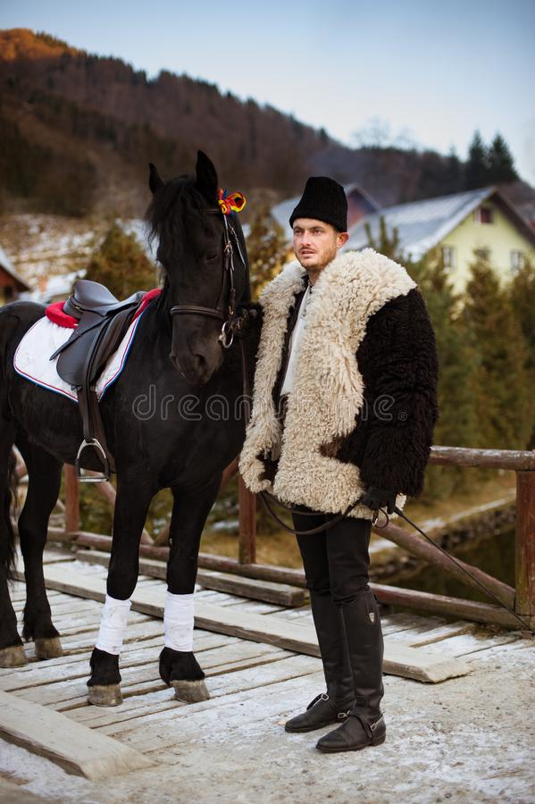 Tradición rumana en un día de invierno foto de archivo libre de regalías