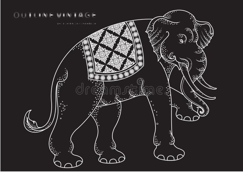 Tradición tailandesa del esquema del elefante ilustración del vector