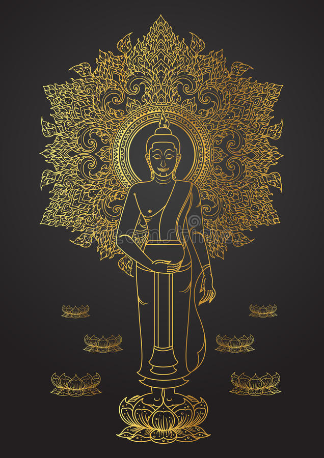 Tradición tailandesa del soporte de Buda en esquema del color oro del loto stock de ilustración