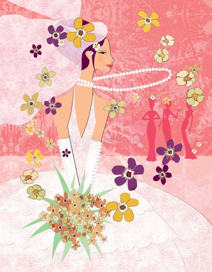 Tradiciones de la boda Lanzar el ramo de la novia ilustración del vector