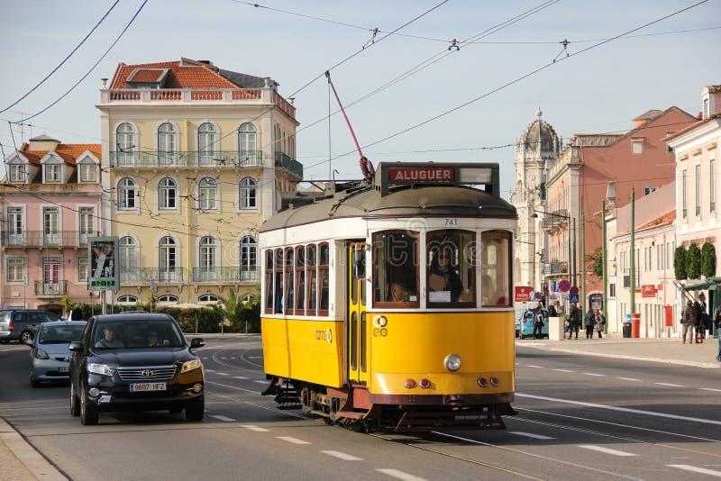 Tradidional yellow Tram in Belem street. Lisbon. Portugal stock photo