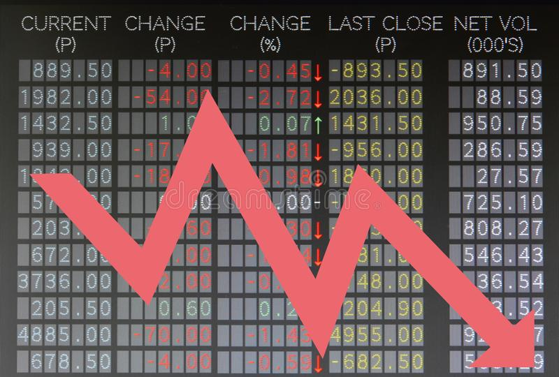 Trading board showing falling stocks with arrow. Trading board shows falling stocks prices with arrow stock photography