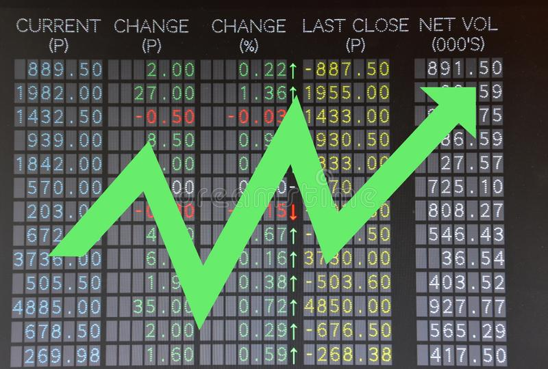Trading board showing rising stocks with arrow. Stock market or equities trading board showing rising stocks with arrow stock photos
