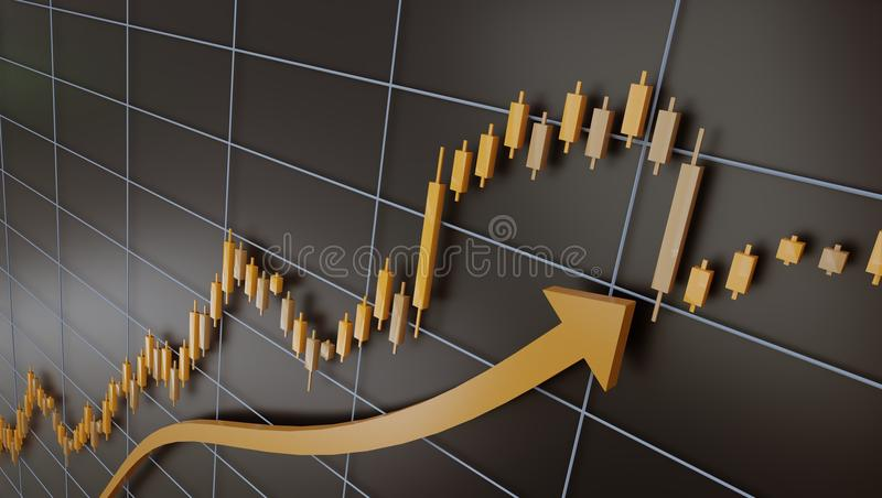 Trading chart and candlestick of gold, 3d illustration. Trading chart and candlestick of gold, forex and other financial charts vector illustration