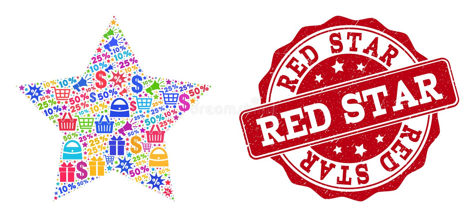 Red Star Collage of Mosaic and Scratched Stamp for Sales vector illustration