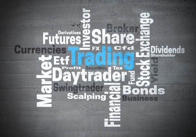 Trading daytrader stock exchange word cloud concept royalty free stock image