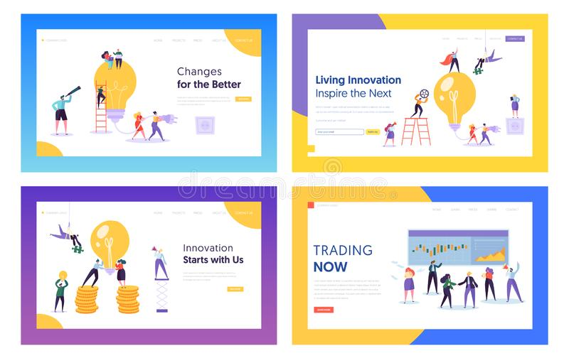 Trading, Innovation Ideas for Business Website Landing Page Templates Set. Businesspeople with Huge Lightbulb and Screen. With Data Analysis Graphs Web Page stock illustration