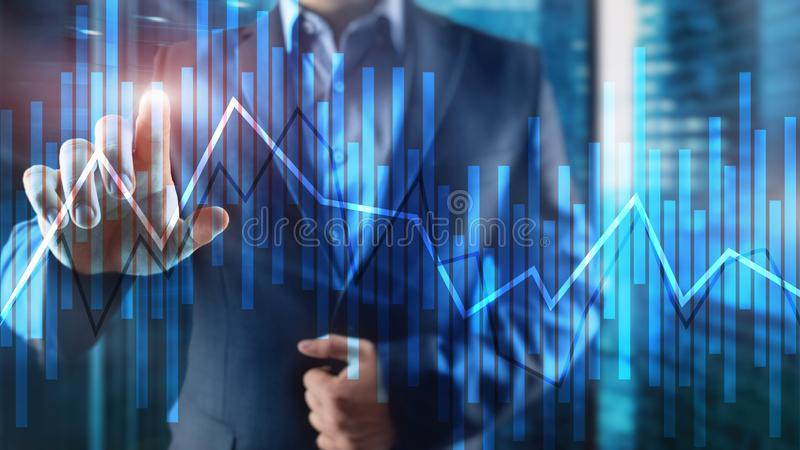 Trading and investment concept with candle chart, financial graph on blurred background abstract background. stock images