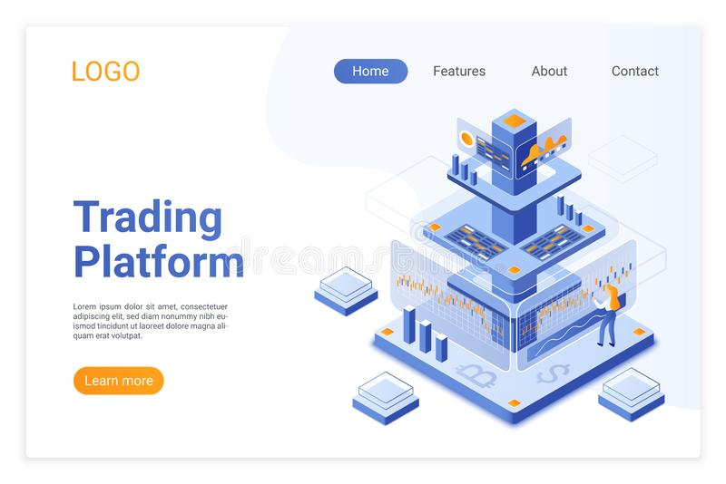 Trading platform isometric landing page template. Online financial market analytics. Digital stock exchange software. Cryptocurrency analyst cartoon character royalty free illustration