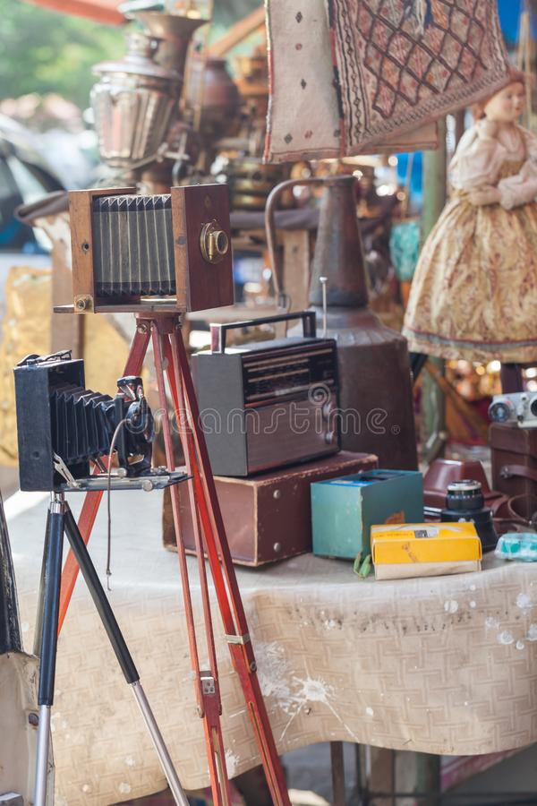 Trading Second-hand Things And Antiquities In Flea Market Of Ant. Iques Old Retro Vintage Things On Dry Bridge In Tbilisi royalty free stock image