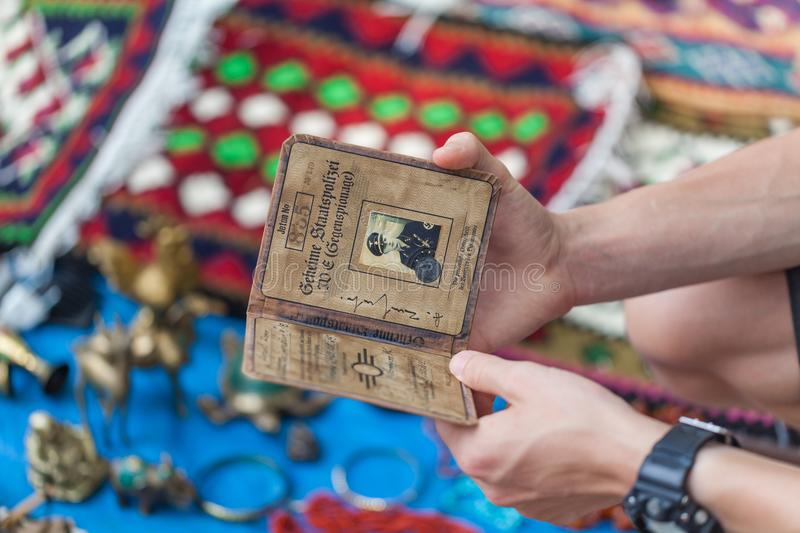 Trading Second-hand Things And Antiquities In Flea Market Of Ant. Iques Old Retro Vintage Things On Dry Bridge In Tbilisi royalty free stock photography