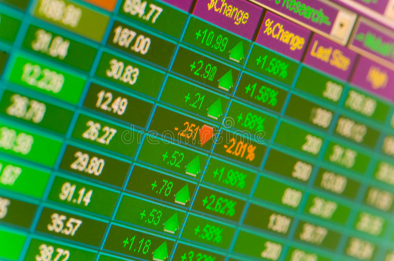 Trading Stocks. A close-up of a monitor showing financial stock market information, financial markets background royalty free stock photo