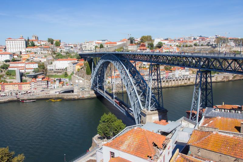 Tradirional boat Barcos rabelos in the old town on the Douro River in Ribeira in the city centre of Porto in Porugal stock photos