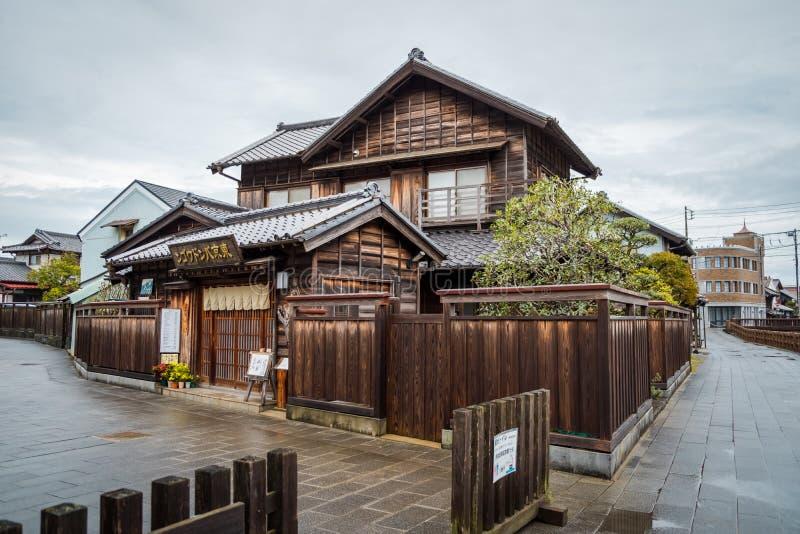 Traditiewinkel in Sawara-dorp in Katori, Chiba, Japan stock afbeelding