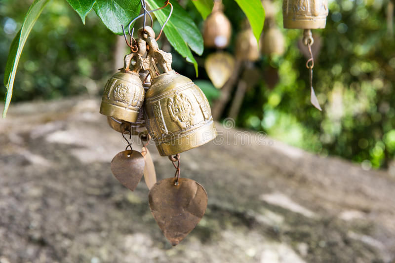 Tradition asian bells in Buddhism temple in Phuket island,Thailand. Famous Big Buddha wish bells royalty free stock photos